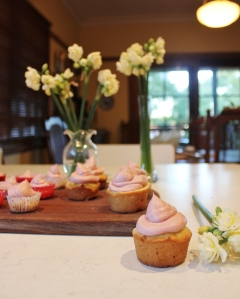 Vanilla cupcakes with elderberry and elderflower icing