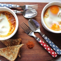 Vegetarian baked eggs and perfect breakfast