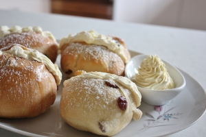 Cream buns with mock cream and indulgence