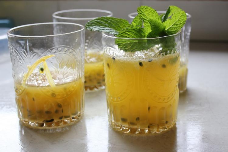 Passionfruit mint cocktail